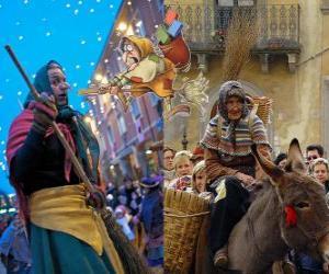 puzzel Befana is een lachende oude vrouw vliegen op een bezem die snoep of steenkool aan de kinderen in Italië