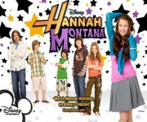 "puzzel Belangrijkste karakters van Hannah Montana, Miley Ray Stewart, Lillian ""Lilly"" Truscott, Oliver Oken, Rod Stewart Jackson, Robby Ray Stewart en Rico Suave"