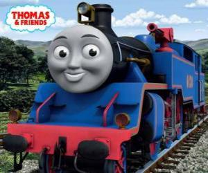 puzzel Belle, de grote en dappere blauwe locomotief heeft twee waterkanonnen om te blussen brand