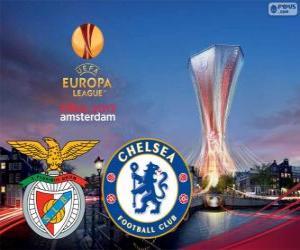 puzzel Benfica vs Chelsea. Europa League 2012-2013 finale in de Amsterdam Arena, Nederland