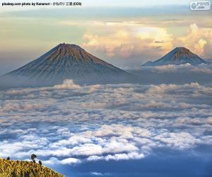 puzzel Bergen Sindoro en Sumbing, Indonesië