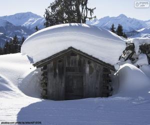 puzzel Besneeuwde cabine