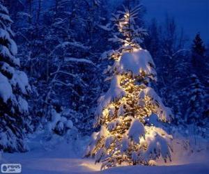 puzzel Besneeuwde kerstboom