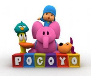 puzzel beste vrienden Pocoyo s zijn Pato, Elly, Loula en Sleepy Bird