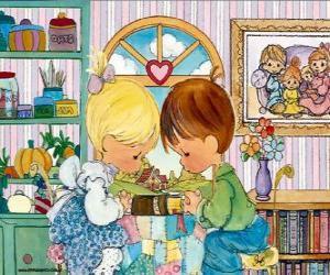 puzzel Bidden jongen en meisje. Precious Moments