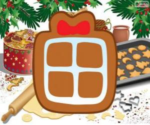puzzel Biscuit met de vorm van een kerstcadeau