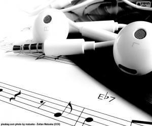 puzzel Bladmuziek ik hoofdtelefoon