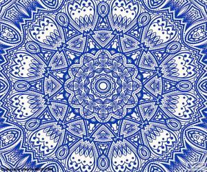 puzzel Blauwe bloem mandala