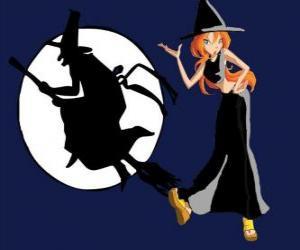puzzel Bloom met een heks kostuum