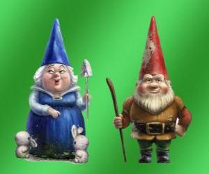 puzzel Blueberry Lady en Lord Gnomeo moeder Redbrick vader van Juliet en de leiders van de twee rivaliserende tuinen