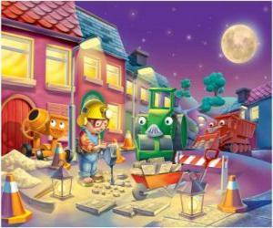 puzzel Bob en zijn vrienden's nachts trabajano herstellen van een straat