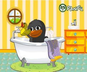 puzzel Bolly zwart in het bad, dier Panfu