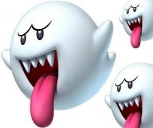 puzzel Boo van Super Mario Bros spel. De Boos zijn spectrale wezens met scherpe tanden en lange tong