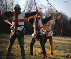 puzzel Boogschutters, middeleeuwse soldaten gewapend met een boog