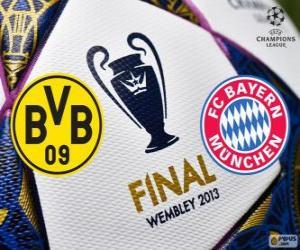 puzzel Borussia Dormunt vs Bayern München. Definitieve UEFA Champions League 2012-2013. Wembley Stadium, Londen, Groot-Brittannië