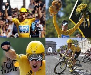 puzzel Bradley Wiggins kampioen van de Tour de France 2012