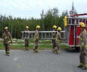 puzzel Brandweerlieden met een ladder