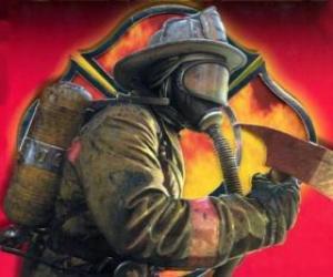 puzzel Brandweerman het verlaten van een gebouw met de bijl of bijl in de hand