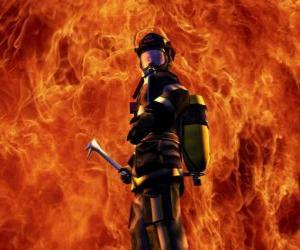 puzzel Brandweerman voor het vuur