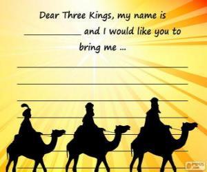 puzzel Brief aan de drie koningen