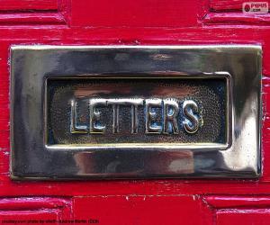 puzzel Brievenbus op een rode deur