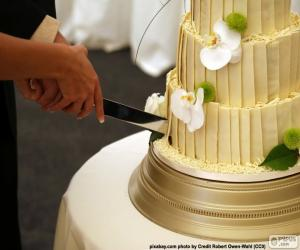 puzzel Bruid en bruidegom snijden bruidstaart