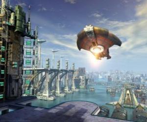 puzzel Buitenaards ruimteschip of UFO vliegen