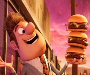 puzzel Burgemeester blij met drie hamburgers in de hand