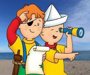 puzzel Caillou en Leo spelen piraten en het zoeken naar schatten met de kaart