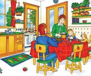 puzzel Caillou en zijn familie te eten in de keuken
