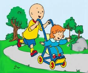 puzzel Caillou het nemen van een wandeling met zusje in de wandelwagen