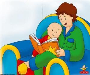 puzzel Caillou leest een boek met zijn vader