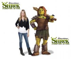 puzzel Cameron Diaz geeft de stem van Fiona, de krijger, in de nieuwste film Shrek Forever After