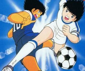 puzzel Captain Tsubasa op hoge snelheid, terwijl is het beheersen van de bal