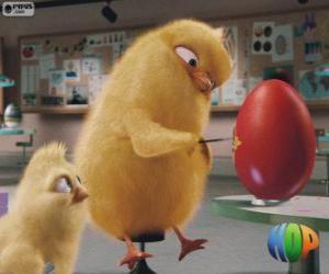 puzzel Carlos en Phil schilderen een ei