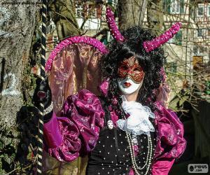 puzzel Carnaval jurk roze