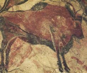 puzzel Cave schilderij dat een buffel op de muur van een grot