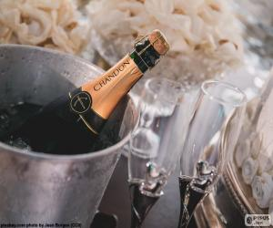puzzel Champagne en glazen