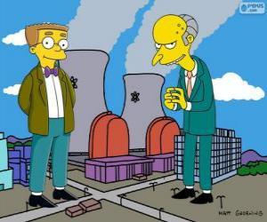 puzzel Charles Montgomery Burns en Waylon Smithers, de eigenaar van de kerncentrale van Springfield en zijn assistent