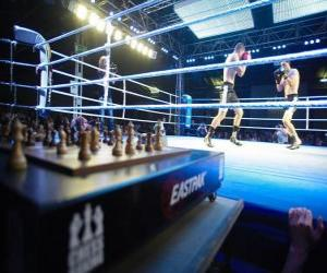 puzzel Chess Boxing is een hybride sport die combineert met boksen schaken in wisselende rondes.