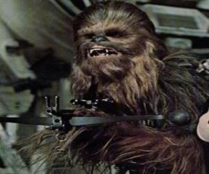 puzzel Chewbacca, de grote en behaarde Wookiee, wijzend met zijn geweer