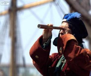 puzzel Christoffel Columbus bereikt de nieuwe wereld, de ontdekking van Amerika
