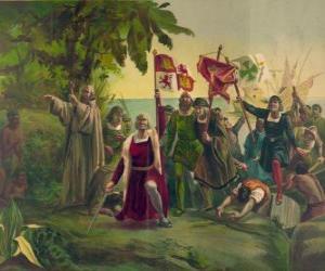 puzzel Christoffel Columbus met het zwaard in bezit neemt van de nieuwe landen