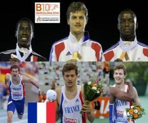 puzzel Christophe Lemaitre van 200 m kampioen, Christian Malcolm en Martial Mbandjock (2e en 3e) van het Europees Kampioenschap Atletiek 2010 in Barcelona