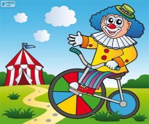 puzzel Clown een fiets