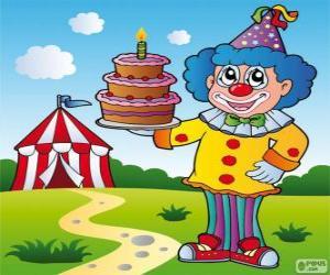 puzzel Clown met een verjaardag cake