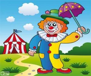 puzzel Clown met paraplu