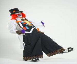 puzzel Clown met volledige clown kostuum, een hoed, pruik, handschoenen, das, grote broek en grote schoenen