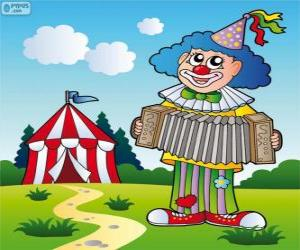 puzzel Clown spelen van de accordeon