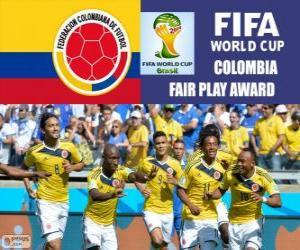 puzzel Colombia, Fair Play award. Brazilië 2014 Wereldkampioenschap voetbal